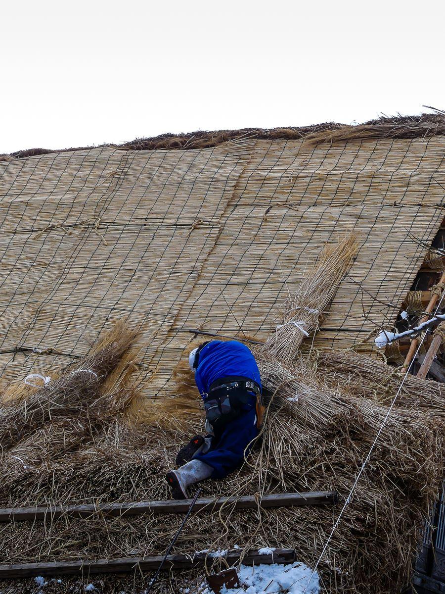 Travaux sur toiture à Shirakawa-go