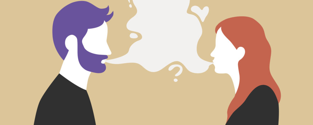 Man and woman talking with speech bubble in the middle - couple communication vector illustration.
