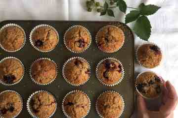 Blackberry and Oat muffins using Spelt flour.