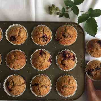 Blackberry and Oat muffins using Spelt flour.