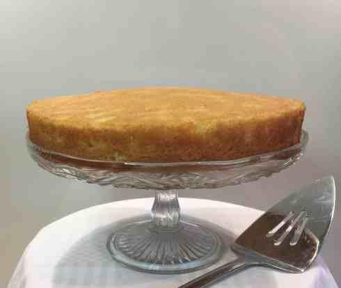 victoria sponge cake on a cake stand