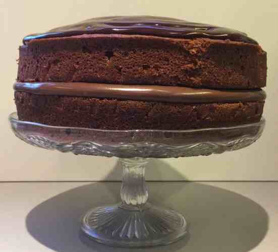 Chocolate Cake on a glass cake stand