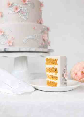 Silver Lace Cake Smooth carrot cake with a cream cheese filling.