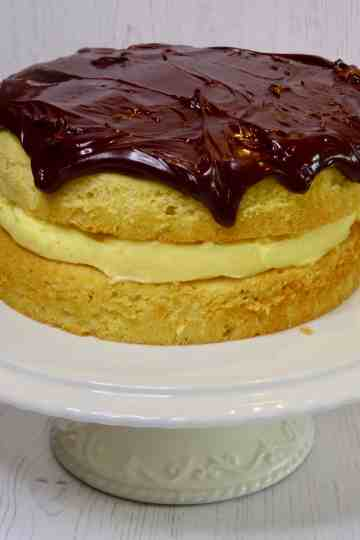 Boston Cream Pie on a cake stand
