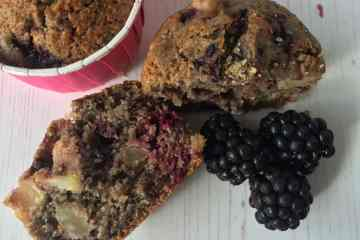 Muffin and blackberries