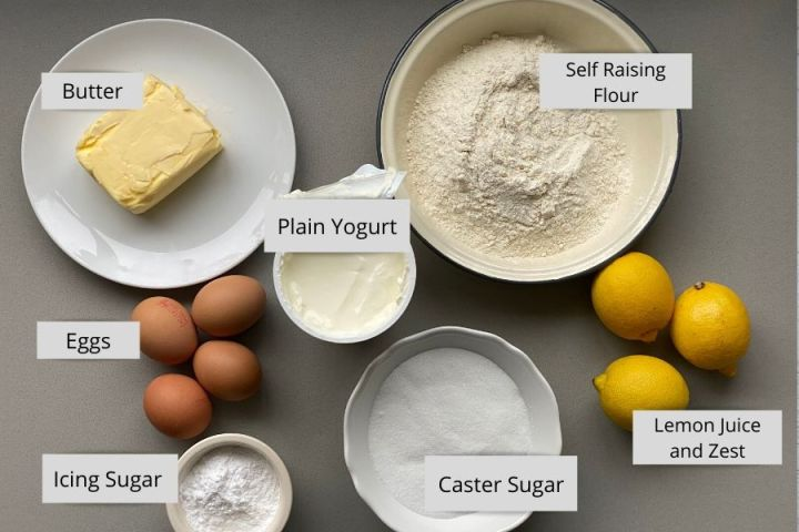 cake Ingredients in white bowls on a counter top