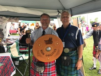 Chief Steven with Festival President, David Radley. David made the shield especially for Chief Steven.