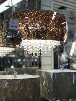 Modern Copper and Cool White LED Crystal Dining Room Light Dublin