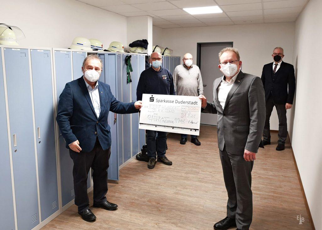 Ortsrat Tiftlingerode spendet 500 Euro an das DRK Duderstadt - neue Spinte sollen angeschafft werden