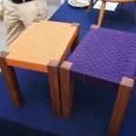 真田紐で座面を編む