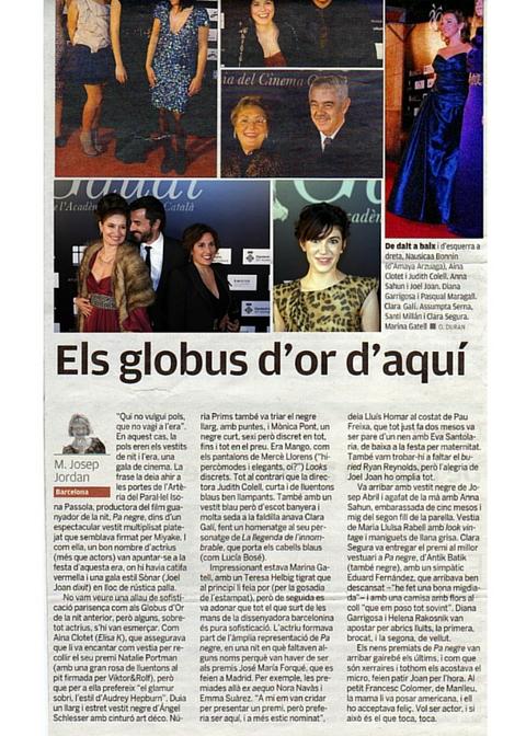 Clara Galí - Premis Gaudi prensa