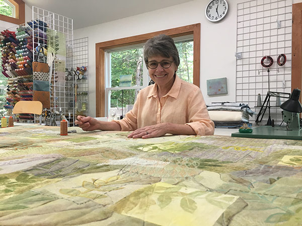 Cheryl in her studio - Fabric Surface design