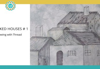 stacked houses- drawing with thread on fabric