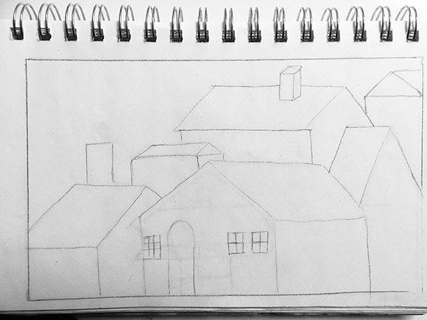 Stacked Houses - Drawing with thread on fabric