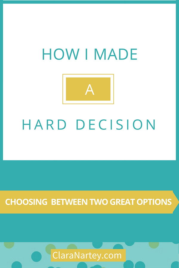 Choice   Making difficult decisions   Choosing between two great options