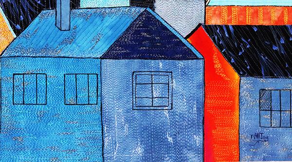 The essence of the color black| textile art | fabric art | fibre art | architecture| Orange | Blue