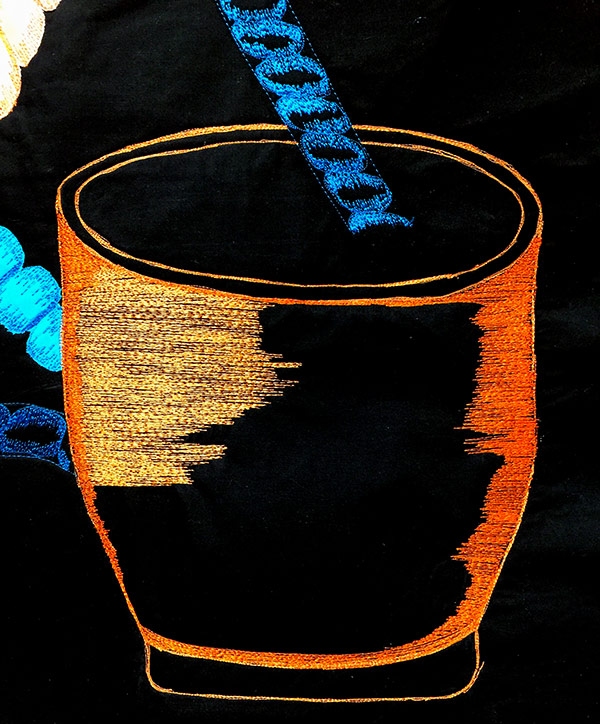 Thread sketching with orange threads |Creative play