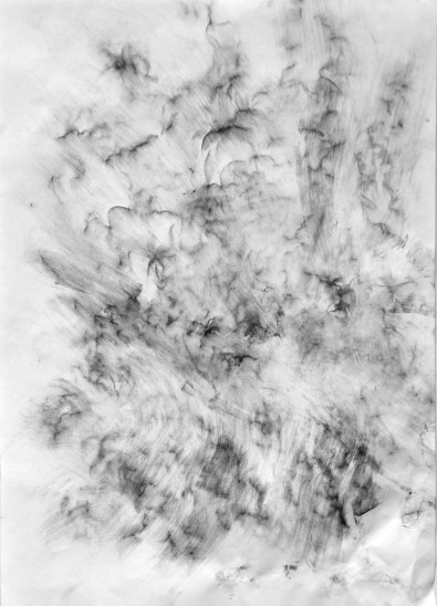 Randi Nygård, Black Carbon Creates Clouds, Drifts in The Wind and Falls to The Ground (Iceberg, Ny-Ålesund, Spitsbergen) 2015, charcoal on paper over iceberg