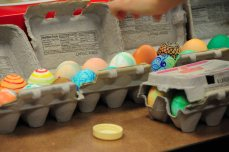 The eggs, decorated by members of the choir, seemed fitting as a symbol of birth and a recognition of Lin's new beginning with the church.