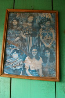 Nebaj, Guatemala. An old photo that hangs on the balcony of our house in Nebaj, featuring different forms of traditional 'traje'