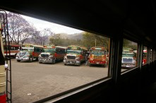 the infamous 'chicken buses,' Antigua, Guatemala