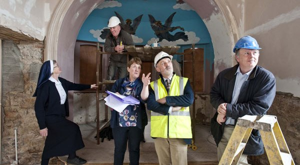 Sr Bosco from the Sisters of Mercy with Martin Murphy, building contractor; Breda McNamara, chairperson of the cultural centre committee; John Deaton, Deaton-Lysaght Architects and Paul Spratt, MED Building Services, in the oratory at the convent in Tulla during renovations for phase two of Cnoc na Gaoithe, the Tulla Comhaltas Cultural Centre. Photograph by Declan Monaghan