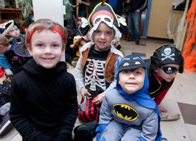 William, David, Derek and Marcus, Ennis National School Junior Infants ,when they visited The Clare Champion Offices in Barrack Street during the annual Ennis National School Hallowe'en Hobble
