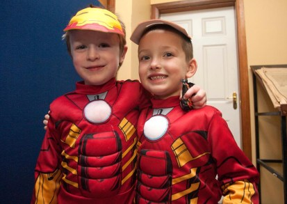 Best buddies Liam and Christian, Ennis National School Junior Infants ,when they visited The Clare Champion Offices in Barrack Street during the annual Ennis National School Hallowe'en Hobble