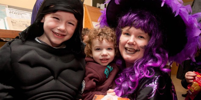 Ennis National School teacher Ciara Stack with her sons Fiacc Corey (5) and Ferdia Corey (2) ,when they visited The Clare Champion Offices in Barrack Street during the annual Ennis National School Hallowe'en Hobble
