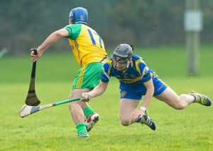 Eoin Vaughan of Inagh-Kilnamona in action against Eoin Hayes of Newmarket during the Clare Champion Cup final at Clarecastle. photograph by John Kelly.
