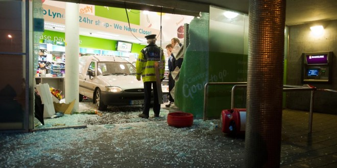 The scene at Lynch's Centra on the Gort road in Ennis after a van went crashing through the shopfront on Wednesday evening. Photograph by John Kelly.;