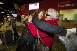 Margaret Drysdale, a resident at Doonbeg, greets her daughter Beatrice at Shannon Airport on Beatrice's arrival home for Christmas from Iowa, USA. Photograph by John Kelly.