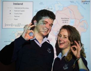 Keelan and Rhianna Mc Mahon, pupils of Mary Immaculate Secondary School in Lisdoonvarna, whose project looks at the changing geography of the Young Scientist Competition. Photograph by John Kelly.