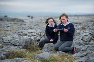 Olivia Mc Gann and Lizzy Roche of Mary Immaculate Secondary School in Lisdoonvarna, whose project looks at variations in Carlina Vulgaris from different regions of The Burren. Photograph by John Kelly.