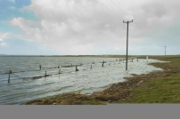 Flooding at Seafield, Quilty caused by a storm last year. Photograph by John Kelly.