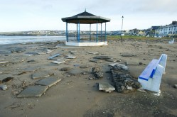 A view of the destruction caused following the latest high seas and gales near the band stand in Kilkee. Photograph by John Kelly.