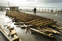 A view of the destruction caused to the public wooden decking at Spanish Point following the latest high seas and gales. Photograph by John Kelly.