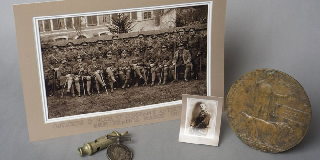 Items from the Claremen and the First World War exhibition at Clare Museum as featured in the new booklet The Great War 1914-1918 – The Clare War Dead WWI. Included are black and white photographs of officers and NCOs of C Company, an officer's whistle a British War medal and photograph of S/Lt Patrick Doherty.