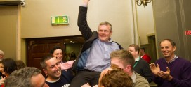 Poll topper in Killaloe area Joe Cooney is lifted on high by supporters as he is deemed elected during the election count at The West county Hotel, Ennis. Photograph by John Kelly.