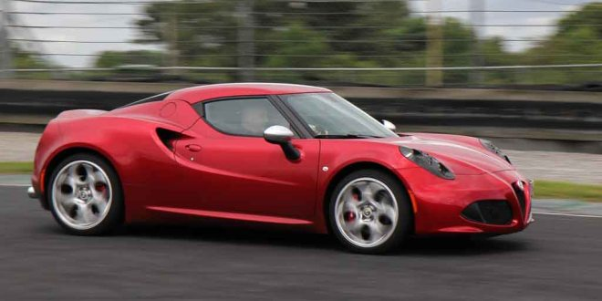 The Alfa Romeo 4C in action at the Irish launch at Mondello Park on Monday.