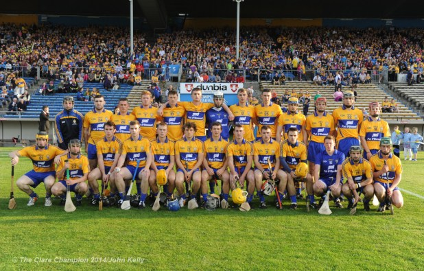 The Clare team before the All-Ireland U-21 final in Semple Stadium, Thurles. Photograph by John Kelly.