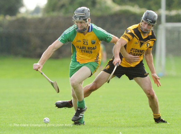 Cathal Griffin of Inagh-Kilnamona in action against Paul Collins of Clonlara during their Junior A final at Clarecastle. Photograph by John Kelly.