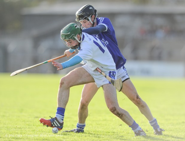 Sean Chaplin of Cratloe in action against Conor Lanigan of Thurles Sarsfield's during their Munster Club quarter final in Cusack park. Photograph by John Kelly.