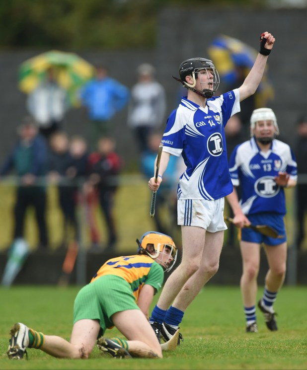 Oisin Cahill of Kilmaley celebrates a score late during their U-16A hurling final against Inagh-Kilnamona in Clarecastle.
