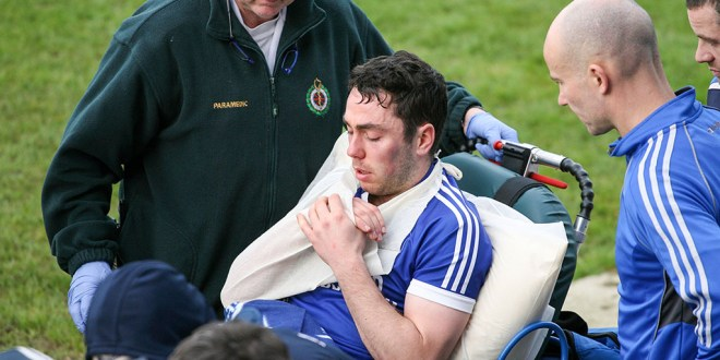 Cratloes dual star Conor McGrath is taken from Cusack Park Ennis by stretcher after his side lost out to Clonlara in the Clare County Championship Hurling semi final today. Pic Arthur Ellis.