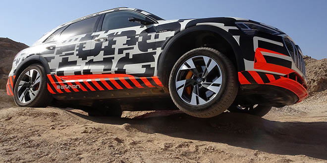 The e-tron tackled the off-road course with ease. Here you can see the flat bottom of the car.