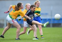 Orla Mc Cabe of Knockanean NS in action against Ella Casey of Barefield NS during their Division 1 LGFA Ladies Football Primary Schools final at Cusack park. Photograph by John Kelly