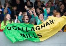 Kilkishen/O Callaghan's fans cheer on their team against Bridgetown during their Schools Division 5 final at Cusack Park. Photograph by John Kelly