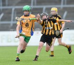 Alex Kelly of Inagh/Cloonanaha in action against Dedclan Mc Inerney of Ballyea during their Schools Division 2 final at Cusack Park. Photograph by John Kelly