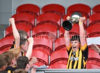 Dillon Killoughery of Ballyea lifts the cup following their Schools Division 2 final at Cusack Park. Photograph by John Kelly